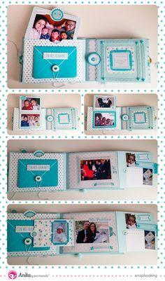 """Interior 2 #Minialbum para bebe hecho con papeles de #scrapbooking de la colección """"Mi Sol"""" de la marca española de Anita y su mundo. #scrapbook #baby #DIY #minialbum #Anitaysumundo #papercraft #blue #azul #albumdefotos"""
