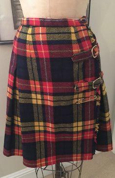 Vintage 1960s Red Kilt Skirt Wool Tartan Plaid Skirt with Gold Pin by newgenerationvintage on Etsy