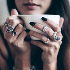 That fierce stack, perfect for heating up the winter evenings. ✦☾☾ www.shopdixi.com ☽☽ ✦ // shop dixi // bohemian jewellery // boho // grunge // hippie // pendant // dark // balance // gothic // mystic // gypsy jewels // silver // coffee // opal // garnet // cosy // winter // coffee lovers