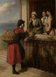 Although the painting is titled 'Tenby Fisherwoman', the central figure is an oyster seller from Llangwm, a small village on the western bank of the Cleddau River. The Llangwm oysterwomen regularly walked to Tenby with their baskets of oysters. Aberdeen Art Gallery, William Powell, Victorian Art, Art Uk, Women In History, Your Paintings, Artist Art, Les Oeuvres, Sketches