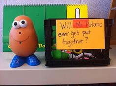Potato head as a whole group behavior incentive. When the class is caught being good or behaving appropriately as a whole, we allow a student to add a Potato Head body part. Potato Head is completely together, we have a celebration. Kindergarten Classroom, Future Classroom, School Classroom, School Fun, Classroom Ideas, Disney Classroom, School Stuff, School Ideas, Kindergarten Behavior System