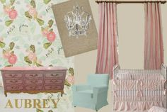 My nursery design for my perfect little girl ♥ TAGS: Vintage girl nursery, wallpaper nursery, Painted vintage french provincial dresser
