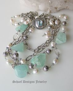 Schaef Designs Afghani Aquamarine nugget, white freshwater pearls & sterling silver figaro chain 4 strand designer bib necklace | New Mexico