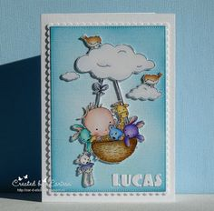 A card for Lucas Welcome Baby, Stamp Sets, Baby Cards, A5, Handmade Cards, Toddlers, Stamps, Lily, Clouds