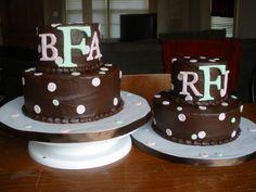 Twin Girls Pink & Green Initial baby shower cake