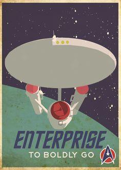 Star Trek, Enterprise retro poster - Based on a Canadian Pacific Travel by Train poster. Enterprise II - blue/green pallete