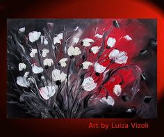 Oil Painting Red White Black Flowers Bouquet Original Fine Art Floral Wall Decor
