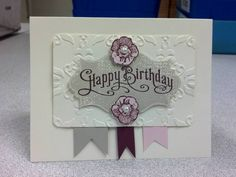 Stamps: Everything Eleanor, Perfectly Penned Paper: Sahara Sand, Bravo Burgundy, Pink Pirouette Ink: Very Vanilla, Pink Pirouette, Sahara Sand, Bravo Burgundy Accessories: Corner Rounder punch, Vintage Wallpaper Embossing folder, Pearl Jewels