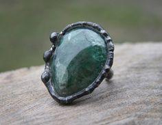 raw fluorite ring, green ring, huge ring, quartz ring, rustic ring, old silver tin, tin ring, ancient ring, antiqued ring Blacksmithworkshop by Blacksmithworkshop on Etsy