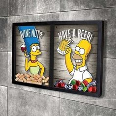 Quadro Misto para Rolhas e Tampinhas - Homer e Marge Home Bar Decor, Pub Decor, Man Cave Bar, 3d Wall Art, Kids Furniture, Furniture Design, Diy Gifts, Doodle, Diy And Crafts
