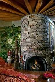 Very unique use of stone in the design of this fireplace ties