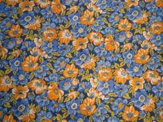 Vintage 1980's Cotton Dress Fabric All Over Poppies Orange & Blue on Navy   eBay