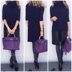 #ShareIG Today - #Zara long sleeve tee, #Céline open front knit/leather vest, #HM 'Super skinny, super low waist' jeans, #Louboutin suede/mesh 100mm boots and #Hermès #Kelly35 in ultra violet.
