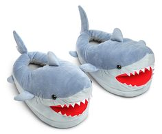 Make every week Shark week with these ferocious and cute Shark Plush Slippers. They are great for sharking around the house.  One size fits lots of adults. You are sure to hear the Jaws music with every step. Small cats and dogs will