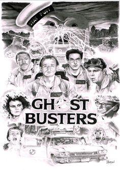 Ghostbusters complete! Graphite on A3 Bristol Board.