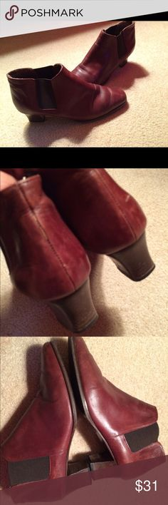 Ferret to Brown Leather Elastic Ankle Boots Sz8.5 Gently Loved. Sz8.5. Leather. Low Heel  made in Italy Ferretti Shoes Ankle Boots & Booties