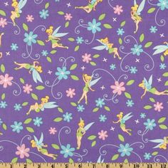 Tinkerbell Flowers Lavender from @fabricdotcom  From Springs Creative Product, this fabic is a design of a well known character. Colors include yellow, aqua, pink and lime on a purple background.