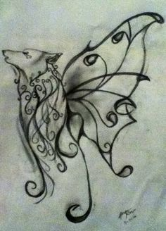 7bbddc5a9 Wolf and butterfly tattoo with orange blossom flowers...beauty ...