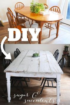 Good morning everyone! Today I'm finally going to explain the process of turning our recently built farmhouse table into the finished one we are in love with today! As you may have read, we built this farmhouse table: I thought about leaving the natural wood, but my heart was set on black chairs with a white table. I wanted that older look, so I went with Miss Mustard Seed's milk paint in farmhouse white. The first coat went on with minimal coverage- the wood looked whitewashed as o...