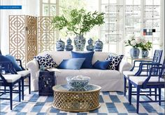 What Beautiful Coastal Beach Home Decor! Love The Blue And White  #Coastallivingrooms