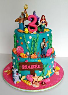 Under the Sea Ocean Life Fondant Cake Toppers, Mermaid Fondant Cake Decorations, Birthday Cake toppers, Beach Cake, Shells, seaweed, number