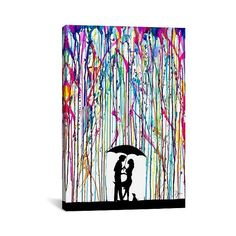 Two Step by Marc Allante Canvas Print ($72) ❤ liked on Polyvore featuring home, home decor, wall art, blue pink purple black, giclee painting, textured painting, contemporary wall art, target wall art and black paintings
