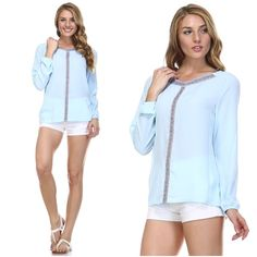 ❗️LAST❗️Light  blue chiffon top Blue, long sleeves, chiffon top with detailed design in front. Fashion Spectrum Tops