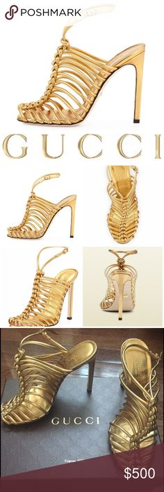 "Gucci: Strappy Knotted Gold Metallic Sandal Pumps Gucci Angelique. Metallic napa leather Gucci sandal heels in gold. Lace up. Knots.  4 3/4"" covered straight heel. Peep toe; knotted cage vamp. Adjustable ankle strap. Leather footbed and sole. Made in Italy. As seen on Nicki Manaj and Stevie J's Jocelyn Hernandez. Come in original box with original dust bag. Size 6 (true to size). Retail $795. Brisette #611 Gucci Shoes Heels"