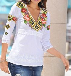 tune on boho blouse Peasant Tops, Tunic Tops, Hijab Fashion, Fashion Outfits, Embroidery Fashion, Embroidered Blouse, Latest Dress, My Wardrobe, Casual Looks