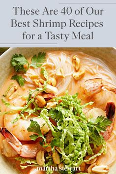 No matter which way you fry, stir, boil, or bake them, these tasty shrimp recipes offer endless inspiration for weeknight meals and dinner parties alike. #marthastewart #recipes #recipeideas #seafoodrecipes #seafooddinners #seafood Best Shrimp Recipes, Fish Recipes, Seafood Recipes, Dinner Recipes, Tasty, Yummy Food, Shrimp Salad, Scampi, Coconut Shrimp