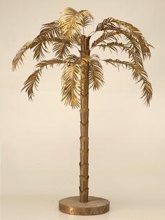 Vintage French Decorative Brass Palm Tree