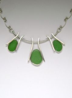Sea Glass Jewelry - Sterling Green Sea Glass Necklace.