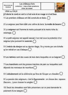 La classe de Sanléane: Rallye de lecture CP - CE1 : Rallye médiéval