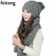 Feitong 1Set Chapeau Femme Et Echarpe Women Hat Female Winter Warm Woolen Knit Hood Fashion Scarf And Hats Sets