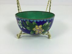 Vintage Cloisonné Small Bowl Mini Blue Trinket by FindingYesterday