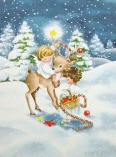 A Merry Christmas ♥ Una Feliz Navidad Christmas Card Images, Vintage Christmas Images, Christmas Scenes, Retro Christmas, Christmas Pictures, Christmas Angels, Christmas Art, Vintage Greeting Cards, Vintage Postcards