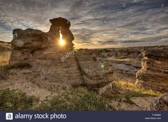 Download this stock image: Hoodoo Badlands Alberta Canada Writing on Stone Park - f1m2m0 from Alamy's library of millions of high resolution stock photos, illustrations and vectors.