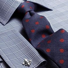 Luxury slim navy and red boucle spot tie