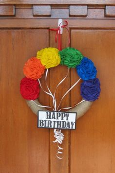 Items similar to Happy Birthday Wreath, birthday decor, happy birthday decorations, party decorations, happy birthday sign on Etsy Deco Wreaths, Holiday Wreaths, Holiday Fun, Yarn Wreaths, Happy Birthday Signs, Birthday Diy, Birthday Wreaths, Birthday Ideas, Wreath Crafts