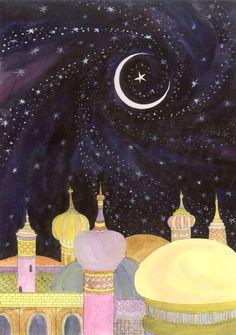 Arabian Night Ramadan greeting card by Delosh Cards - Card Gnome Night Illustration, Watercolor Illustration, Botanical Illustration, Arabian Nights Prom, Ramadan Greetings, Bordado Floral, Arabian Art, Eid Mubarak, Conte