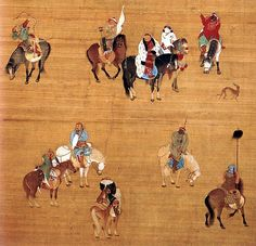 Kublai Khan on a hunting expedition, painted on a silk handscroll (fragment). This was painted in the year 1280 by the Chinese court artist Liu Guandao. Notice how Kublai Khan is wearing distinct Mongolian-style furs over Chinese Han silk brocades. Kublai Khan, Chinese Painting, Chinese Art, Chinoiserie, Fleet Foxes, National Palace Museum, Genghis Khan, Religion, Silk Road