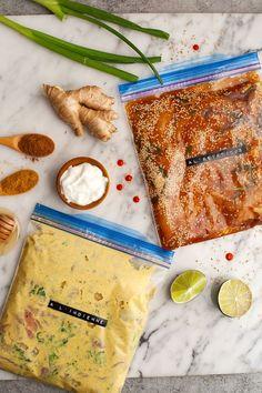 4 marinades express (à l'asiatique, chili & cumin, moutarde & miel et à l'indienne)