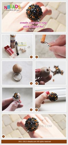 Beads could be well used to create your own ring. A bead ball is done by gluing seed beads and bugle beads around a wood bead. This ring wit...