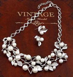 Fashion Vintage Gold/Silver Pearl Leaf Necklaces and Earrings for Women Leaf Collar Statement Wedding Jewelry Set - Silver by Boboso -- Awesome products selected by Anna Churchill
