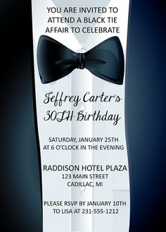 Adult Birthday Invitation BlackTie Affair by FabPartyPrints, $15.00