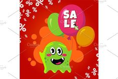 Sale card with cute monster. Promotion balloon shopping discount banner #discount #promotion