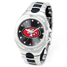 This San Francisco 49ers Watch features a color logo on the dial with a black glossy background behind it. This officially licensed watch features a sleek looking metal band with black rubber inserts that compliment the overall beauty of this watch.