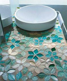 Aqua blue/green glass mosaic tiles