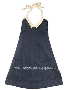 Shop @ OoLaLa: Navy Terry Halter Dress