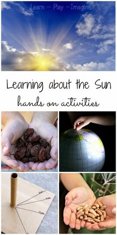 Earth and Space- 12 hands on activities to learn about the sun in preschool and kindergarten. Preschool Weather, Preschool Science, Teaching Science, Science For Kids, Science Activities, Science Projects, Science Fun, Physical Science, Summer Science